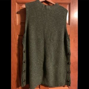 Ann Taylor green cable knit tunic sweater XXL NWOT